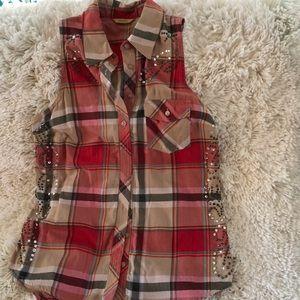 Women's plaid sleeveless top